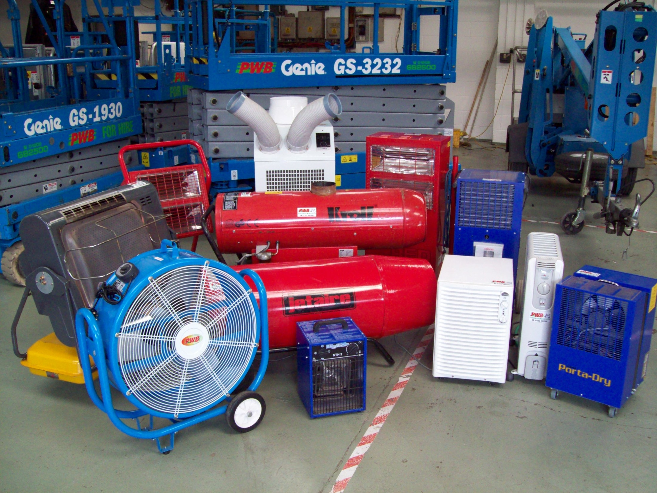 Industrial Heating, Spray Booths, Air Conditioning, Heat Pumps, Access & Lifting Equipment Hire and other Specialist Equipment Hire
